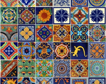 100 Pieces Mexican Talavera Tiles Handmade Mixed Designs Mexican Ceramic  4x4 Inch