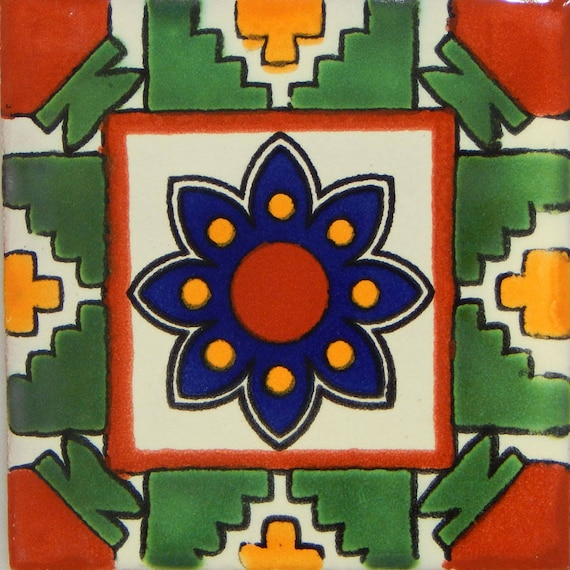 COLOR Y TRADICI/ÓN Mexican Talavera Tiles Handmade 6x6 Stairs Backsplash 4 pcs C187