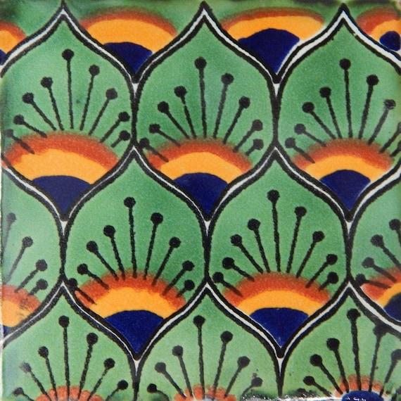 100 Mexican Talavera tiles 4x4 Decorative Folk Art Handmade C395 Other Flooring