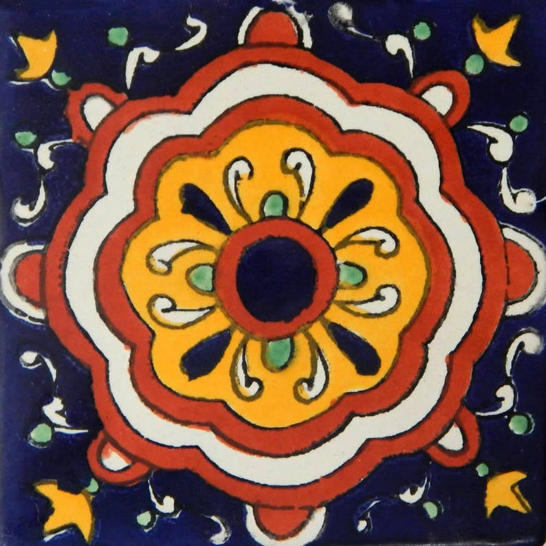 50 Mexican Talavera Decorative Handmade Tiles Folk Art C152
