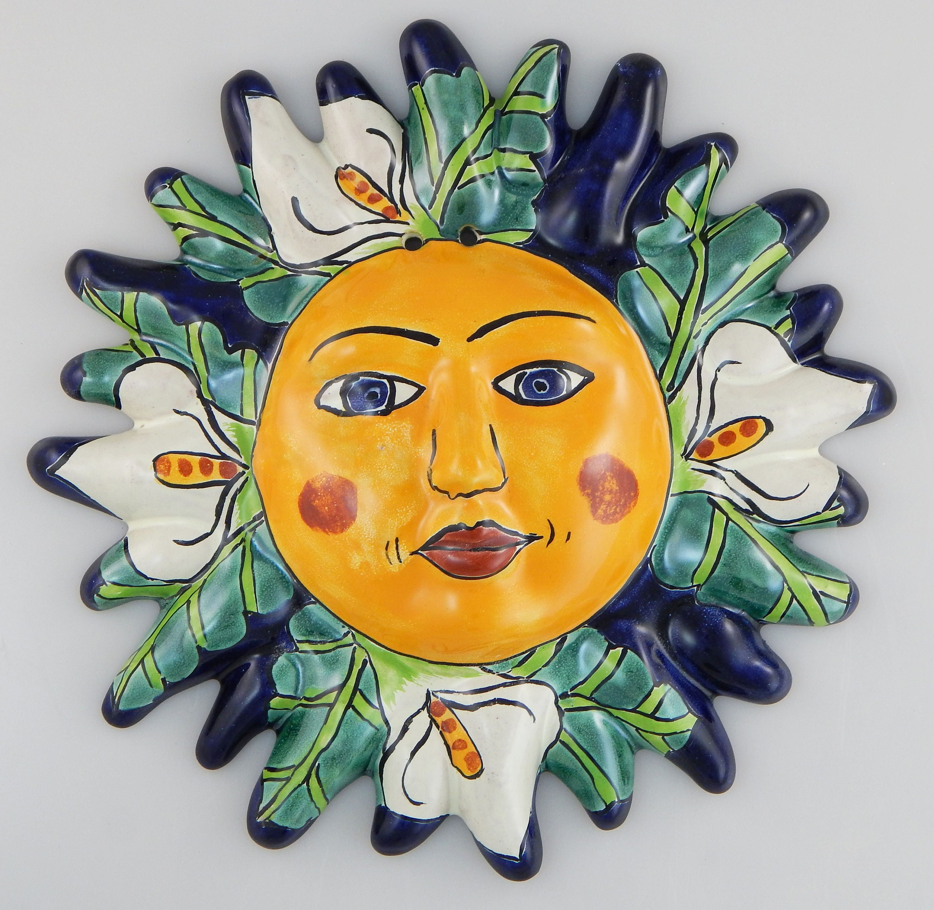 Mexican Talavera Sun Face Hand painted Pottery Wall Hanging