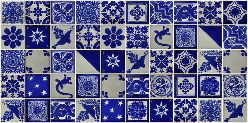 50 Hand Painted Mexican Talavera Tiles 2 X 2 Tiles Folk Art Handmade Blue and white