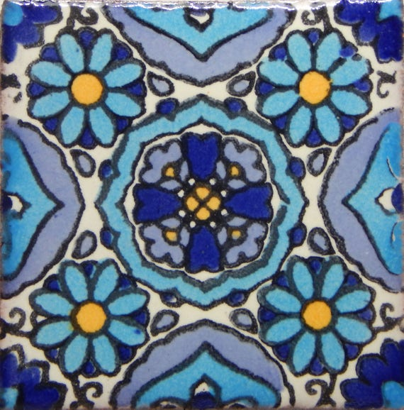 100 Pcs Talavera Mexican Hand Painted Tile Folk Art Tile