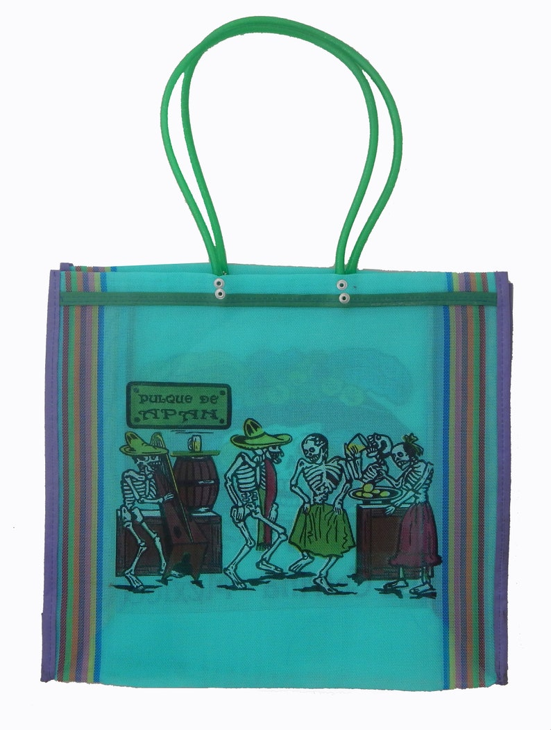 Mexican Market Bag Reusable Recyclable Shopping Handmade Bag Mexican Catrina Turquoise # 213