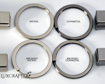 """25pk Keyrings - thin 32mm (1 1/4"""") split ring in *Brushed* or *Polished* finish. Luxcrafter - Canadian supplier."""