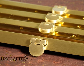 """4pk 7.5"""" Soft Brushed Gold Clutch Frame, Straight Channel Wallet Frame, Purse Frame (19cm). Luxcrafter - Canadian Supplier."""