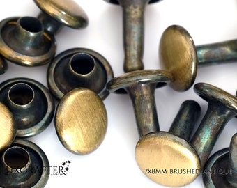 """100 7x8mm Brushed Antique Rivets """"Small"""" (approx. 1/4""""x5/16"""" cap/post). Luxcrafter - a Canadian Supplier."""
