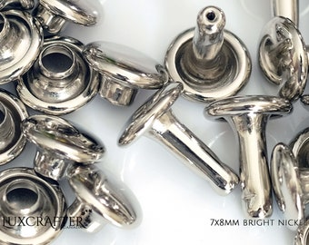 """100 7x8mm Bright Nickel Rivets """"Small"""" (approx. 1/4""""x5/16"""" cap/post). Luxcrafter - a Canadian Supplier."""