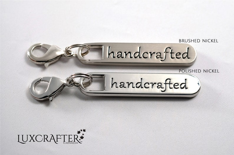 approx. 1-916x516in Canadian Supplier. 10 Brushed Nickel \u201cHandcrafted\u201d Zipper Pulls for Purse Wallet Clutch Tote by Luxcrafter 40x8mm