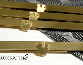"""4pk 8"""" Soft Brushed Gold Clutch Frame, Straight Channel Wallet Frame, Purse Frame (19cm). Luxcrafter - Canadian Supplier."""