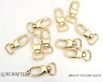 """10pk 1/2"""" Yellow Gold J-hook/Snap-hook. **LIMITED QUANTITY**. For wallets, purse, tote, bag, backpack, leather, sewing. Canadian Supplier."""