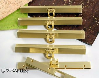 """4pk 4.5""""Brushed Gold Open-Clasp Straight Channel Frame (11.3cm). Luxcrafter - Canadian Supplier."""