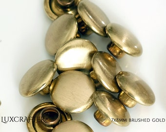 """100 7x8mm Brushed Gold Rivets """"Small"""" (approx. 1/4""""x5/16"""" cap/post). Luxcrafter - a Canadian Supplier."""