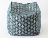 Poef F05 turkish moroccan persian tribal bohemian square kilim rug pouf poef puff ottoman footstool bean bag