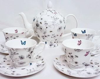 Secret Garden Tea Set Fine Bone China Flowers Butterflies Bees Teapot 35oz 1 litre & 4 Cups and 4 Saucers