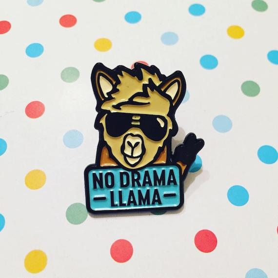 Marvelous No Drama Llama Soft Enamel Pin Cute Alpaca Cool Blue Animal | Etsy