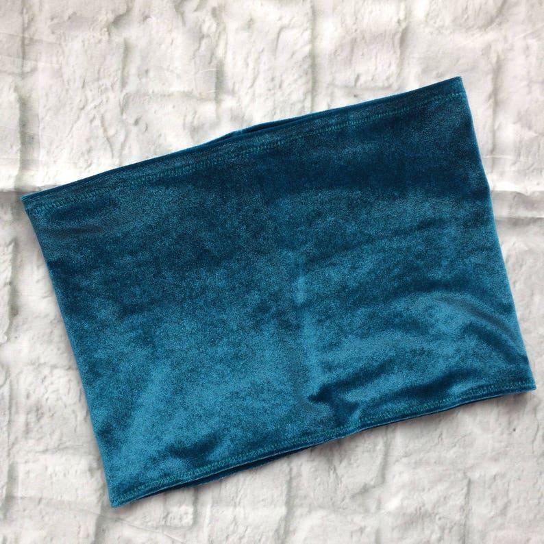 Teal blue velvet boob tube top