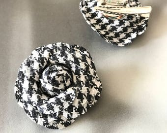 Houndstooth Brooch, dogstooth accessories, Herringbone flower, bouclé camélia flower hair clip, black and white elegant brooch,free shipping