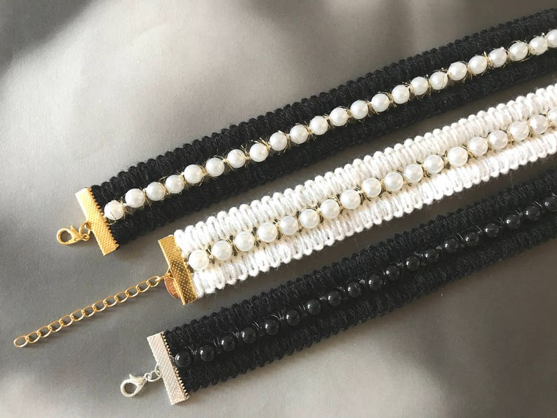 Runway Style Statement Necklace Pearl Choker Necklace Faux Pearl Chained Choker Necklace Lalacamelia