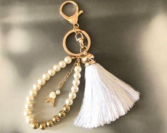 Paris Eiffel Tower charm keychains, Pearl purse charm, Parisan style bag charm, souvenir keychains, white tassel accessories, Gift for her