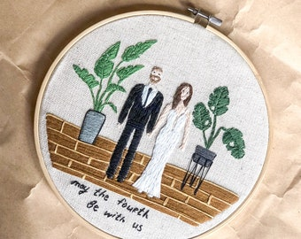 Personalized embroidery family portrait Custom embroidered wall art Wedding anniversary gift Housewarming gift for couple