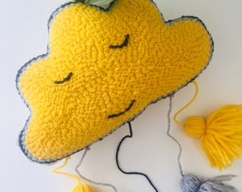 Happy little cloud pillow Personalized yellow cloud wall hanging Kid pillow nursery decor Sleepy little clouds wall art Cute little cloud
