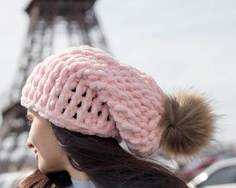 1c3df77bd36 Different colors - Slouchy beanie Handmade pink knit beanie Hippie hat  Toddler beanies Knit cap Baby girl beanie gift Raccoon pom pom