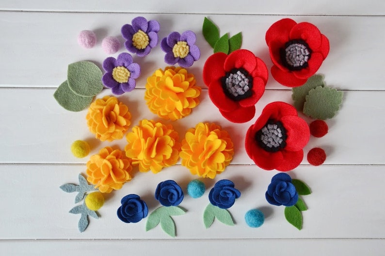 Felt flowers bouquet Red poppy Purple anemone Orange marigold Blue vinca  Wool fe... Felt flowers bouquet Red poppy Purple anemone Orange marigold  Blue vinca ... 458584e79