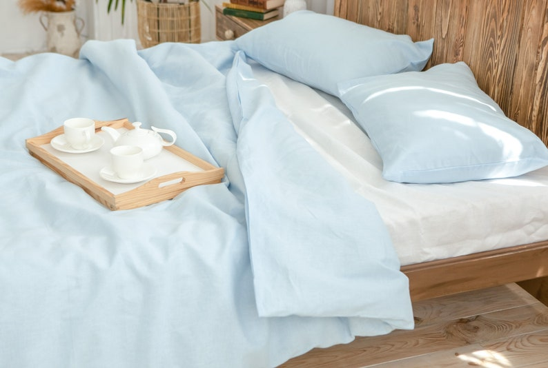 Linen duvet cover set in light blue color Light blue