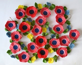 Poppy felt flower garland Red wedding decor Anemone felt flower headband Crimson nursery decor Felt floral garland Scarlet Flower bunting