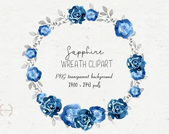 Floral Clipart Blue Silver Clipart Instant Download Flowers Etsy