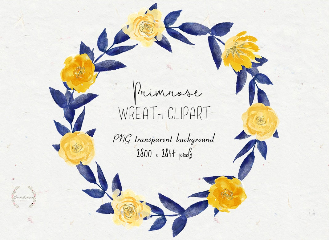 Floral Wreath Flowers Clipart Yellow And Navy Blue Flower Etsy