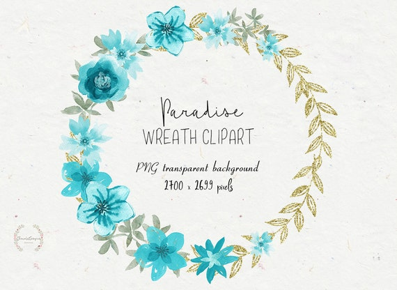 Blue Wreath Clipart Wedding Invitations Watercolor Clipart Etsy