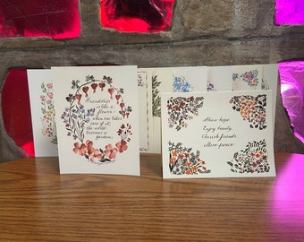 Floral Abundance | Pack of 10 Note Cards. Blank inside.