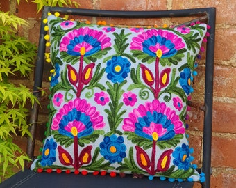Handmade Embroidered Suzani Cushion cover, Boho Cushions, Pillow Covers, Indian Cushion, Scatter Cushions, Blue Cushion Cover