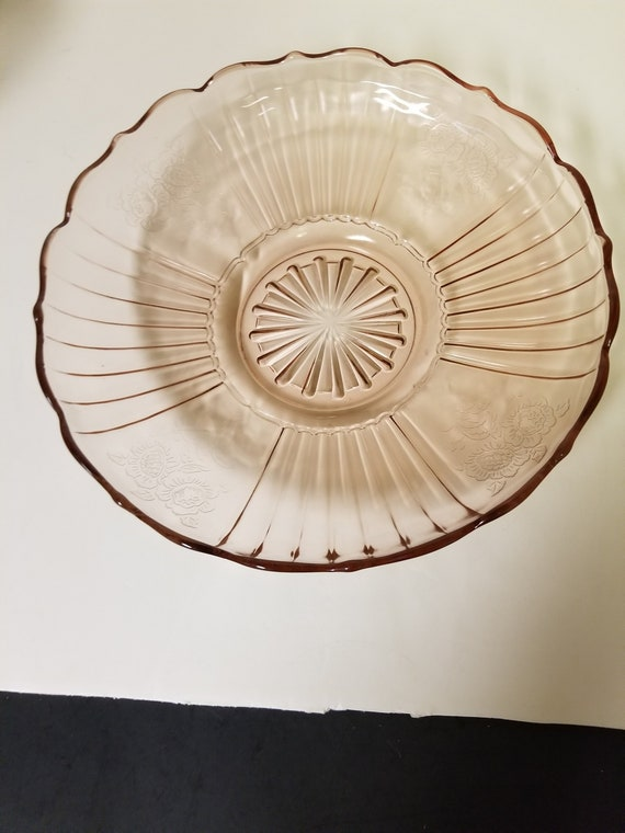 Pink Depression Glass Anchor Hocking Mayfair Open Rose Low Bowl 11.75