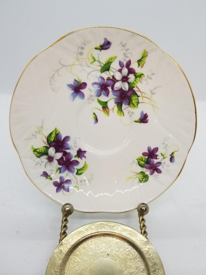 made in England Crown Staffordshire bone china cup and saucer VIOLETS pre-1948