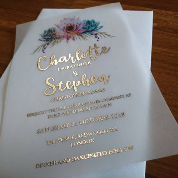Watercolor Floral And Foil Wedding Invitations On Vellum