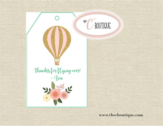 Hot Air Balloon Birthday Party Favor Bag Tags; Digital or Printed
