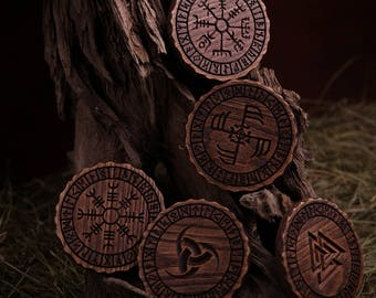 Wooden drink coasters with runes and Norse symbols