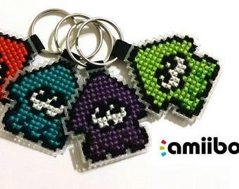 Custom amiibo Cross Stitch Splatoon 2 keychain clip
