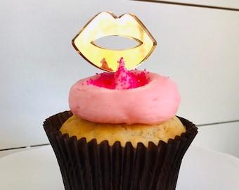 Lips Acrylic Cupcake Topper Set