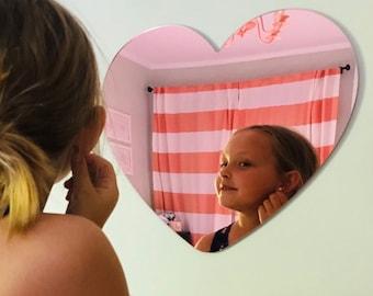 Heart Mirror | Rose Gold Mirrored Heart | Rose Gold Acrylic Heart Mirror | Rose Gold Heart Mirror | Gold Acrylic Heart Mirror