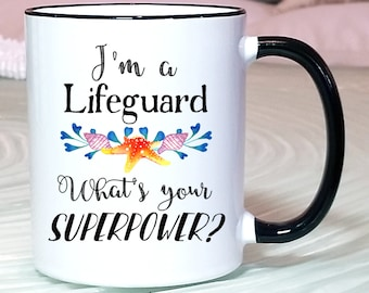 Lifeguard Gift, Lifeguard Mug, Lifeguard Superpower mug, Lifeguard Certification Gift, Lifeguard Training Gift, Lifeguard Graduation Mug