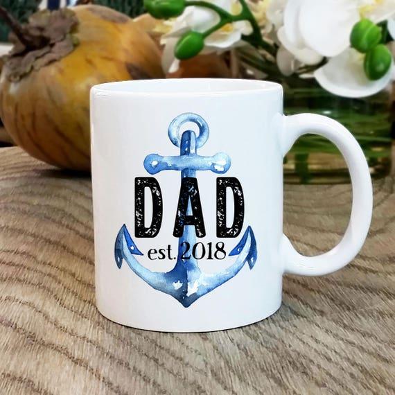 Dad Mug New Gift Nautical Anchor Coffee Cup Pregnancy