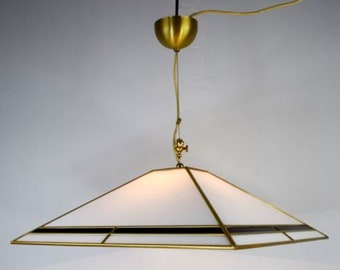 Vitreous and brass chandelier