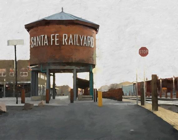 Old Town Santa Fe >> Santa Fe Rail Yard New Mexico Art Old Town Art Wall Art Fine Art Giclee Limited Edition Art Print Railyard Art Archival Wall Decor