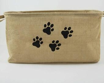 pawprints, natural jute basket, pet storage, dog toy bin, pet food bin, pet accessories organizer, jute basket, organizer bin, toys