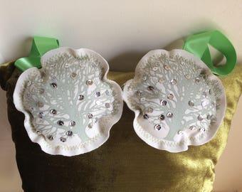 Tree Print Cushion Cover & Free Gift, One Cushion Cover, Sequin Detail, Green Velvet, Christmas Gift, Decoration, Handmade