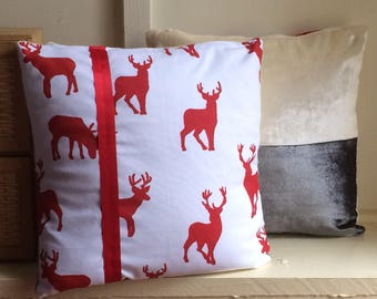 Stag Print Velvet Cushion Cover Set  and Free Gift, Christmas Gift, Decoration, Handmade